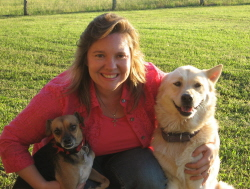 Kim with her dogs Lady and Angel, from Pearland Animal Control