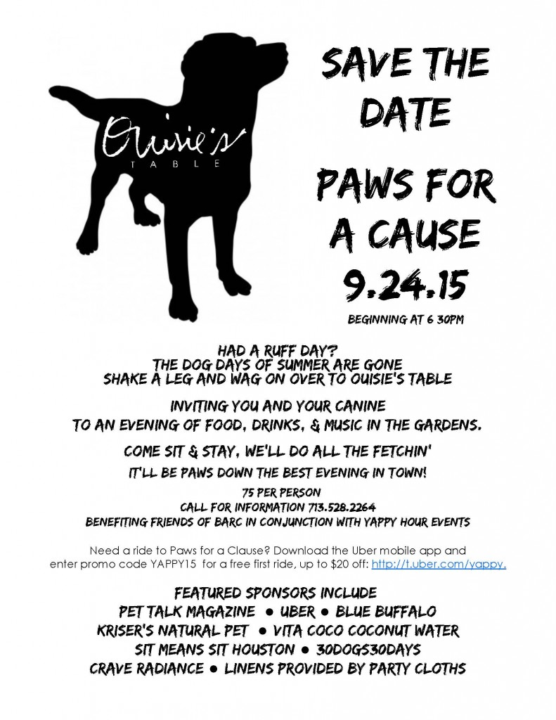 Paws for a cause 9.24.15 save the date flyer