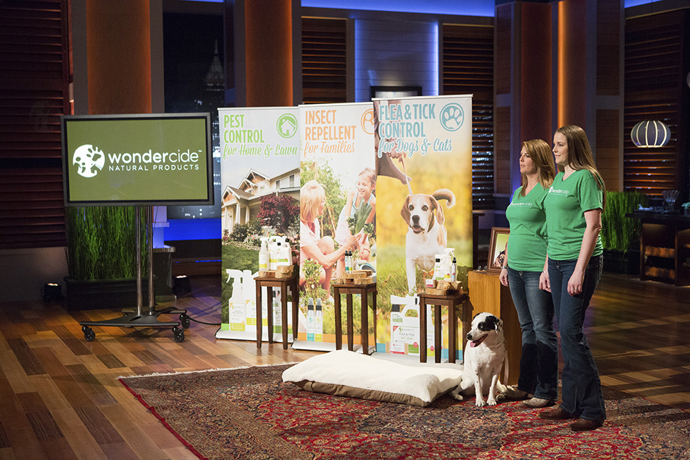 "SHARK TANK - ""Episode 725"" - A beer enthusiast duo from Pittsburgh, PA presents a new way of keeping beer chilled for a longer amount of time; an entrepreneur and a former aerospace engineer from New York City aim to reinvent the vending machine; two animal lovers from Austin, TX pitch safer, natural and organic bug repellents for pets; and a woman also from Austin, TX hopes to make clean eating more convenient with her line of vegetable smoothies, but will her product agree with the Sharks' taste buds? Also, an update on Wombi Rose and John Wise from Boston, MA and LovePop, their line of intricate, 3D pop-up greeting cards that Kevin O'Leary invested in during Season Seven, on ""Shark Tank,"" FRIDAY, MARCH 18 (9:00--10:01 p.m. EDT) on the ABC Television Network. (ABC/Michael Desmond) STEPHANIE BOONE, LAURA ALTER (WONDERCIDE)"